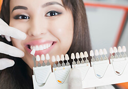 Women receiving teeth whitening