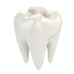 white dental crown standing alone