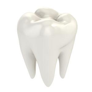 white dental crown standing alone